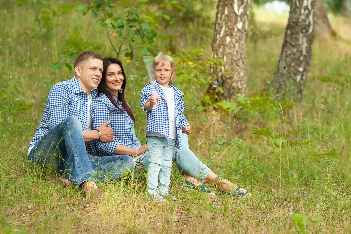 Family Look Рубашки синие в клетку