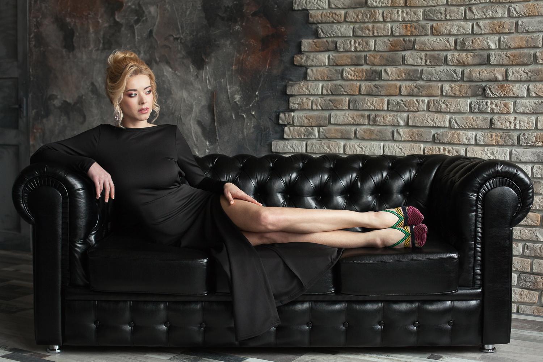 Прокат Черное платье с разрезом