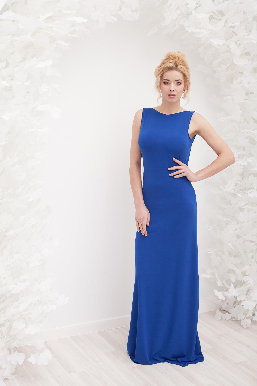Прокат Синее струящееся платье