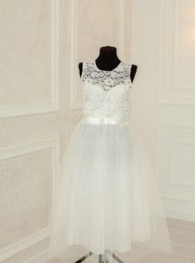 Красивое белое платье с кружевным верхом